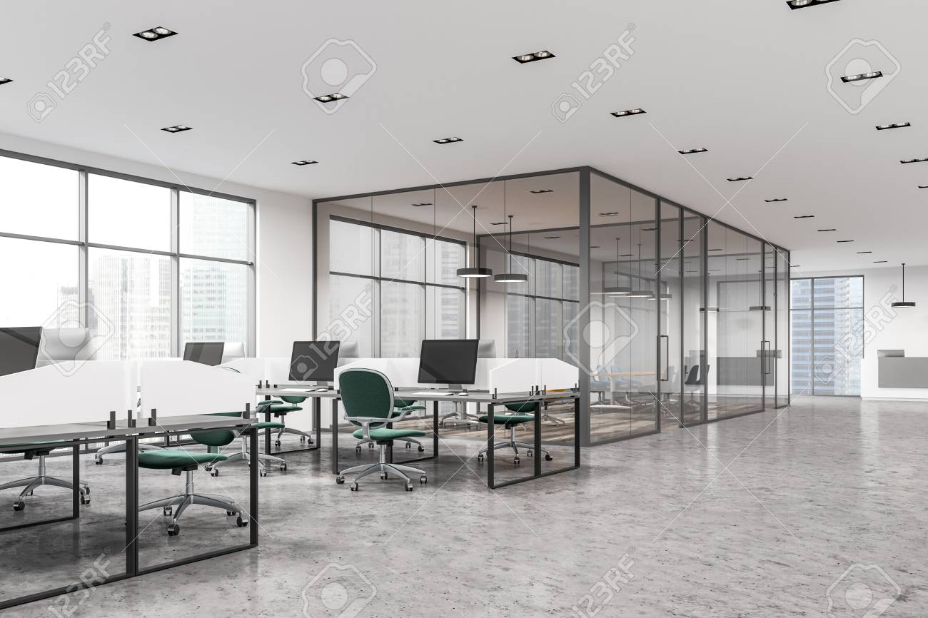 Modern Office Interior With White Walls Large Windows White Stock Photo Picture And Royalty Free Image Image 94242626