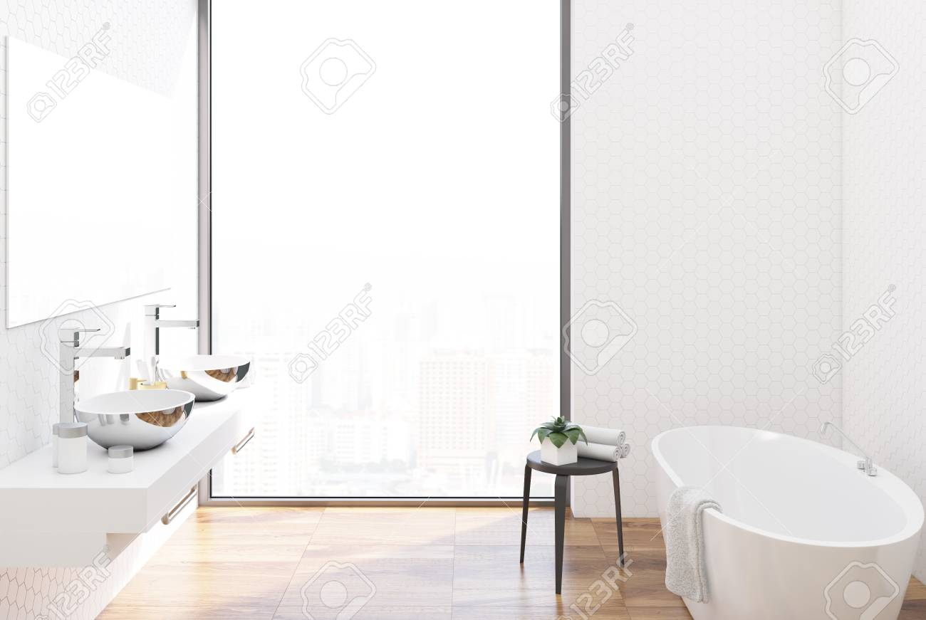 Bathroom Interior With White Hexagon Tile Walls, A Large Tub.. Stock ...