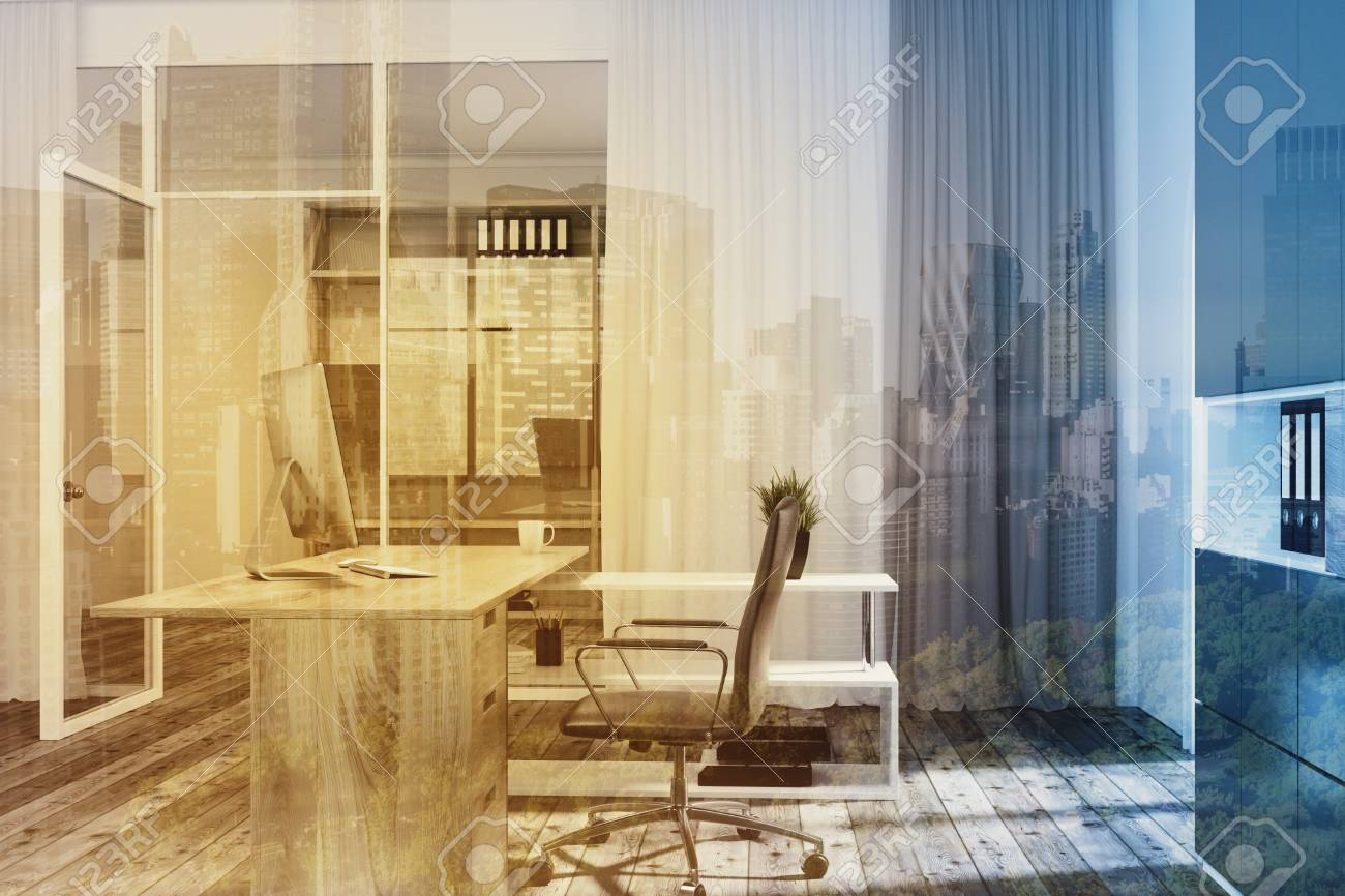 Interior Of A Manager S Office With White And Glass Walls, A.. Stock ...