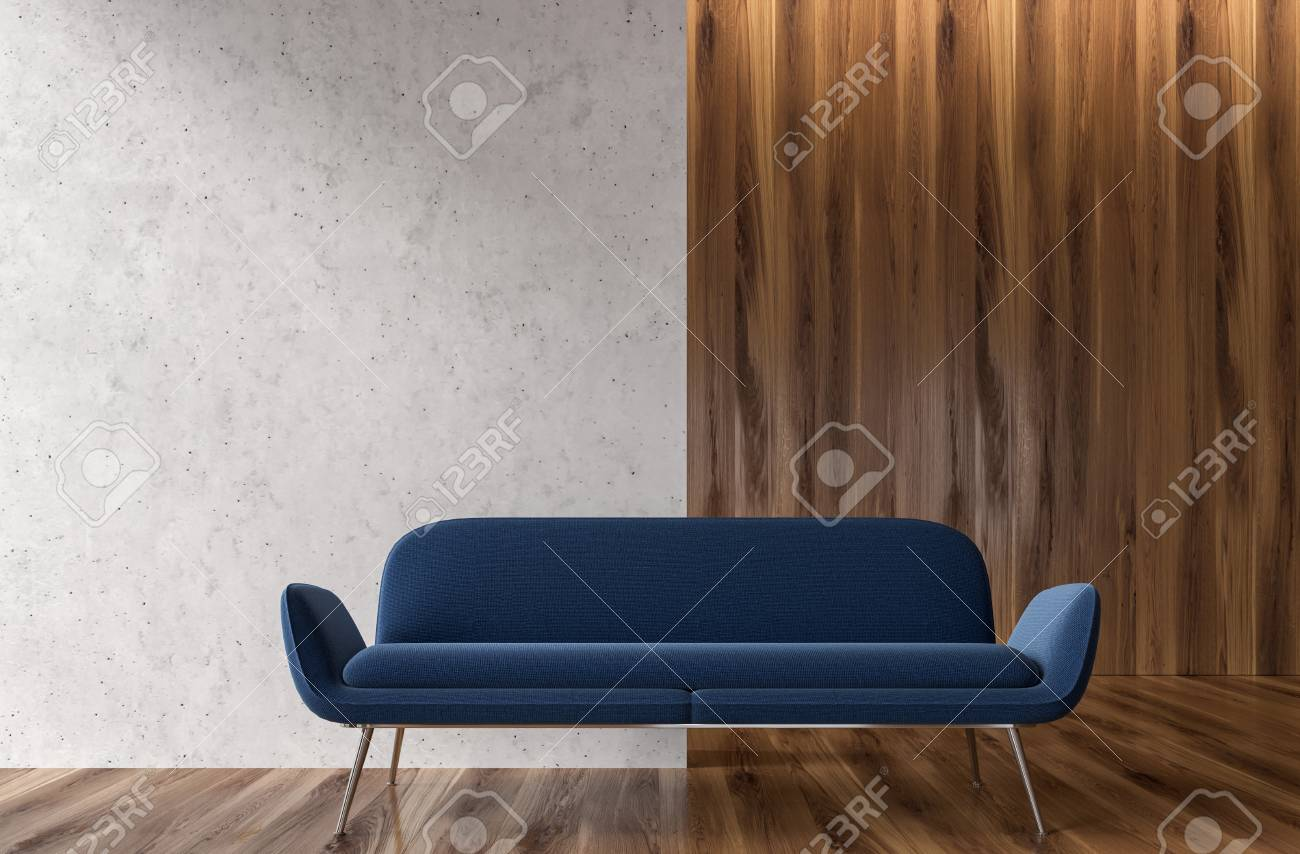 Groovy Wooden And White Empty Room Interior With A Dark Blue Sofa Standing Evergreenethics Interior Chair Design Evergreenethicsorg