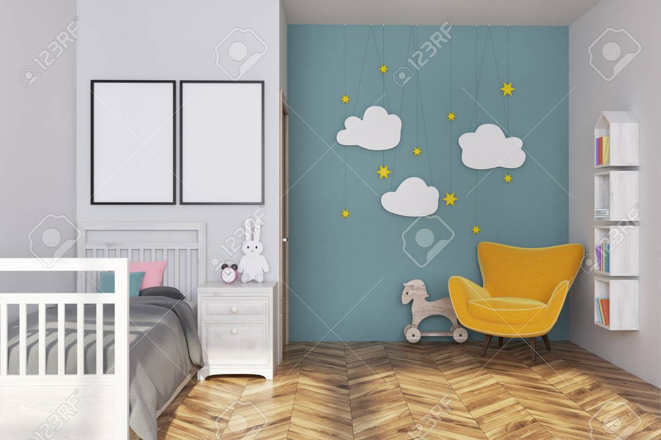 photo white and blue nursery interior with a gray bed a yellow armchair cloud decoration and two vertical