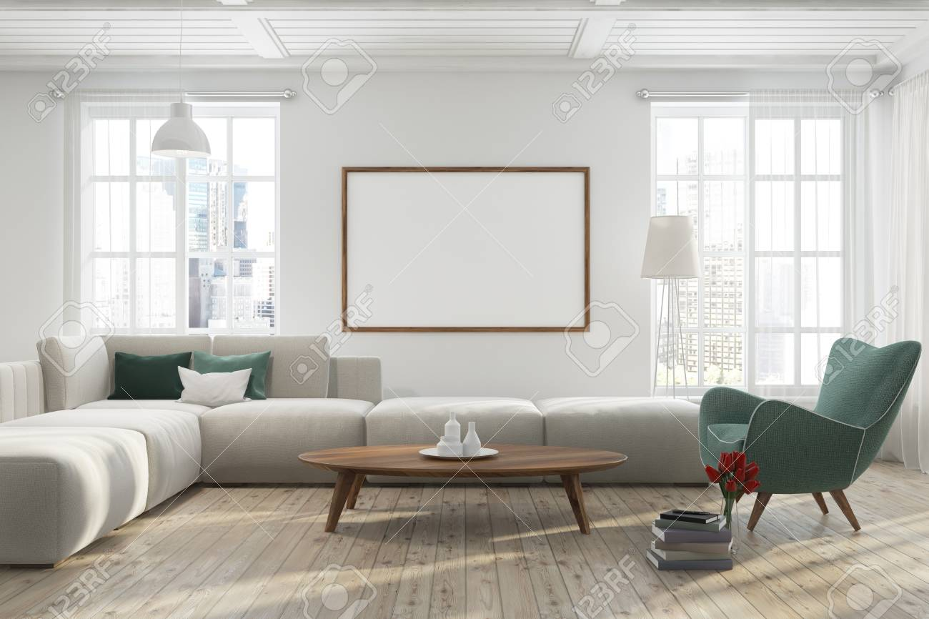 Modern living room interior with a wooden floor, white walls,..