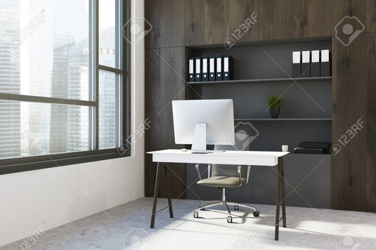 Dark Wood Office Workplace Corner With A Bookcase A Large Window Stock Photo Picture And Royalty Free Image Image 94793428