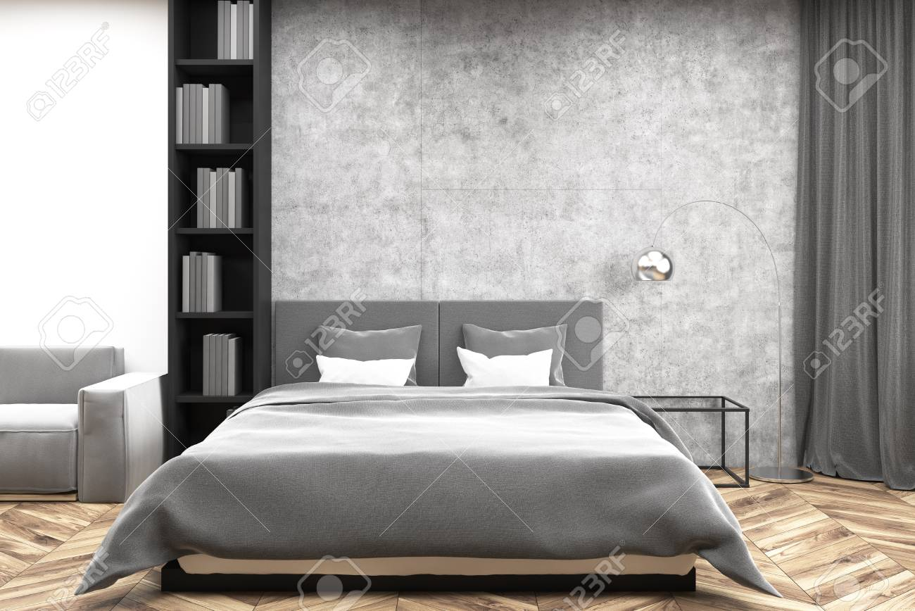 Modern Bedroom Interior With Concrete And White Walls A Wooden Stock Photo Picture And Royalty Free Image Image 94793435