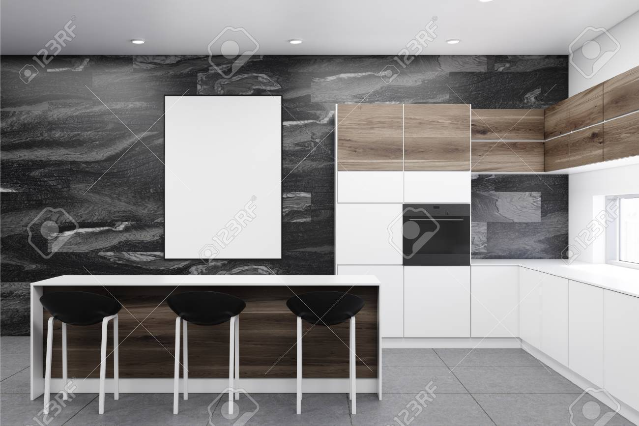 Black Marble Kitchen Interior With A Gray Floor White Countertops Stock Photo Picture And Royalty Free Image Image 94793486