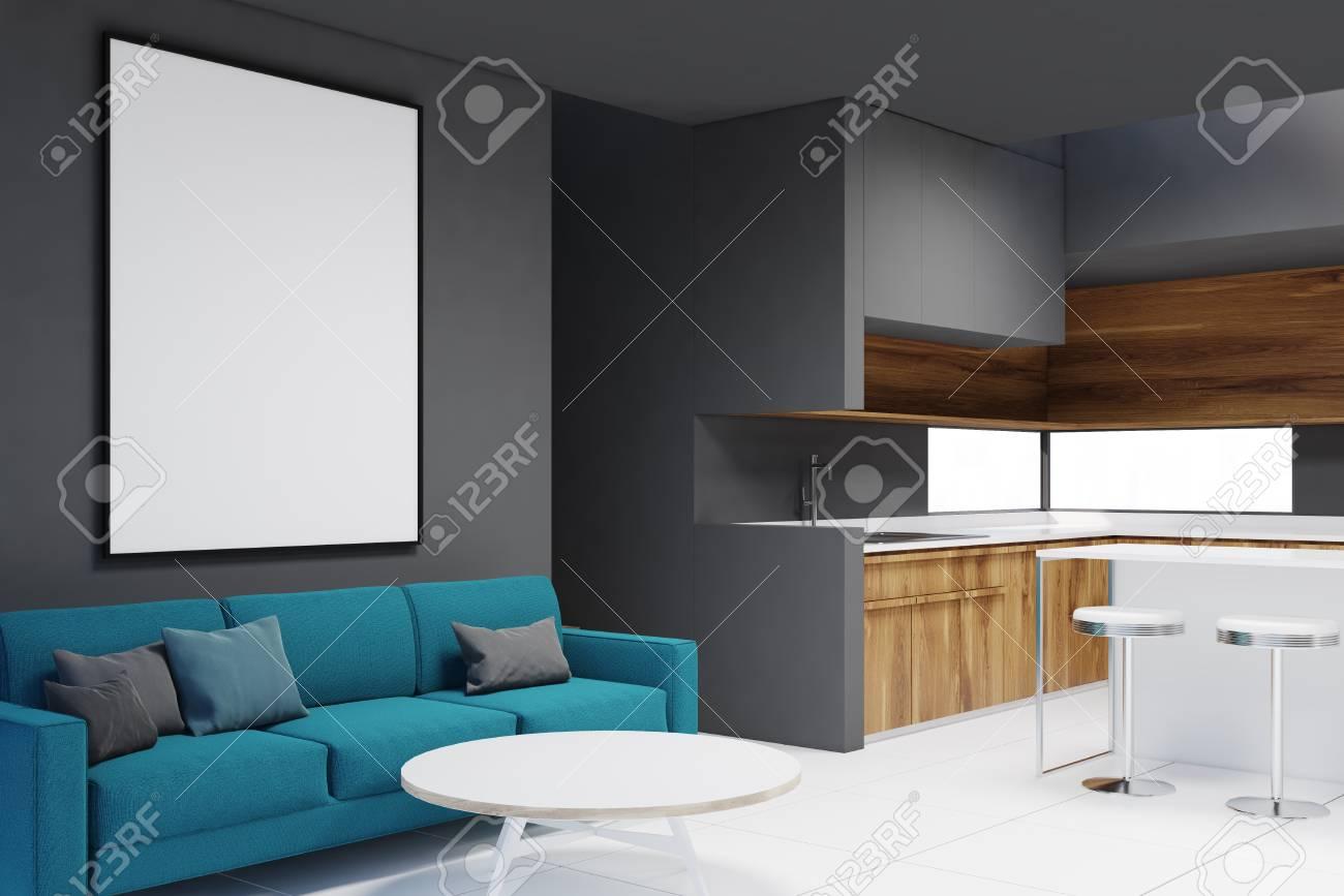 Modern Living Room Corner With A White Floor Dark Gray Walls