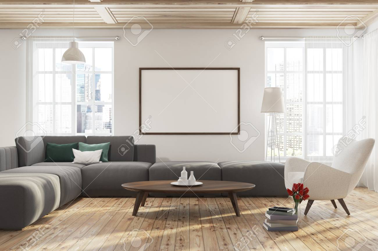 Modern Living Room Interior With A Wooden Floor White Walls Stock Photo Picture And Royalty Free Image Image 94793772