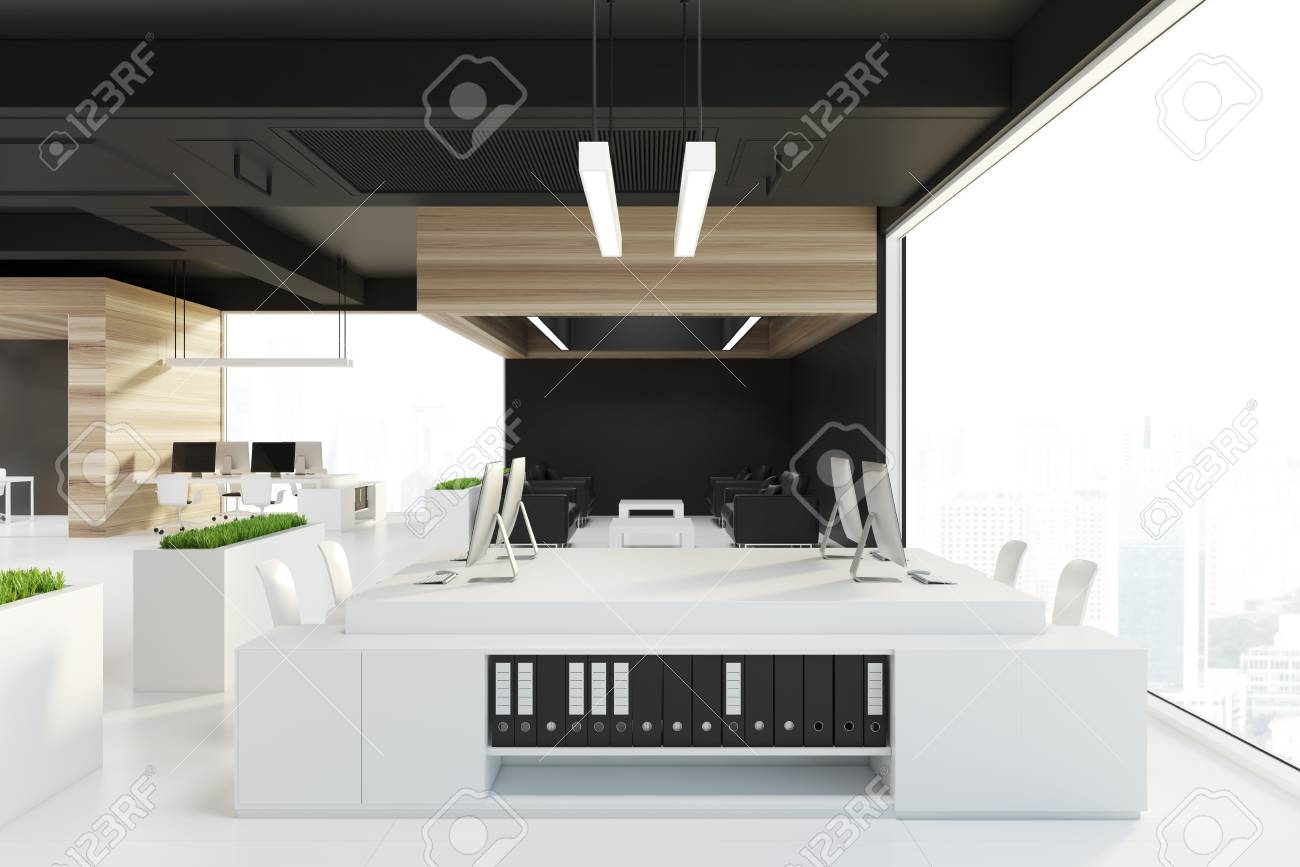Wooden Office Interior With A Black Ceiling Black Walls Loft Stock Photo Picture And Royalty Free Image Image 95377719