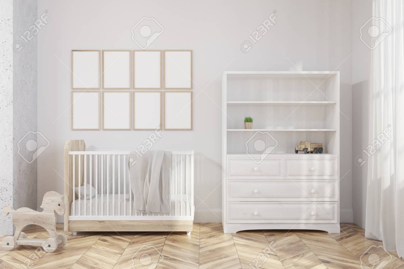 Nursery Interior With A Wooden Floor, White Walls, A Bookcase ...