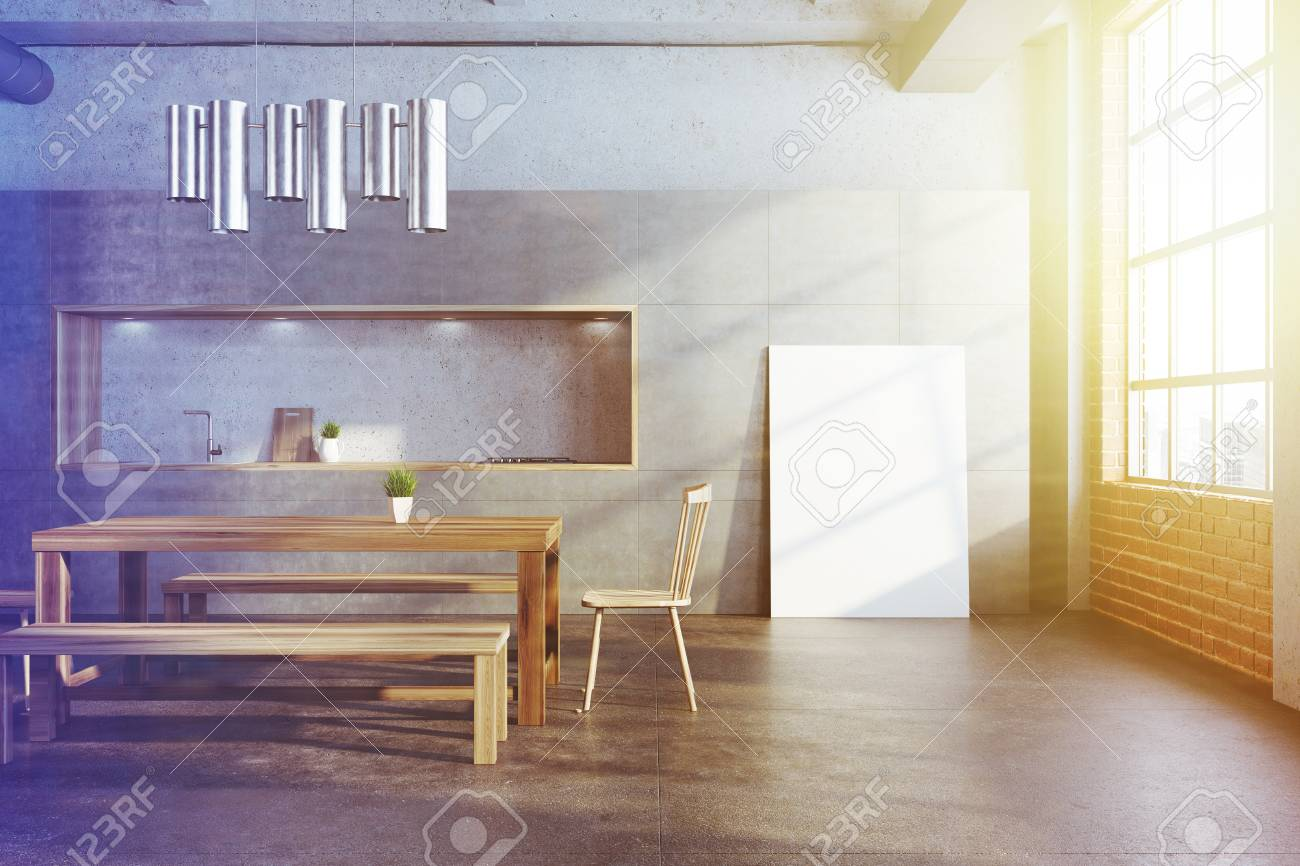White Dining Room Interior With A Long Wooden Table Two Chairs Stock Photo Picture And Royalty Free Image Image 95377838