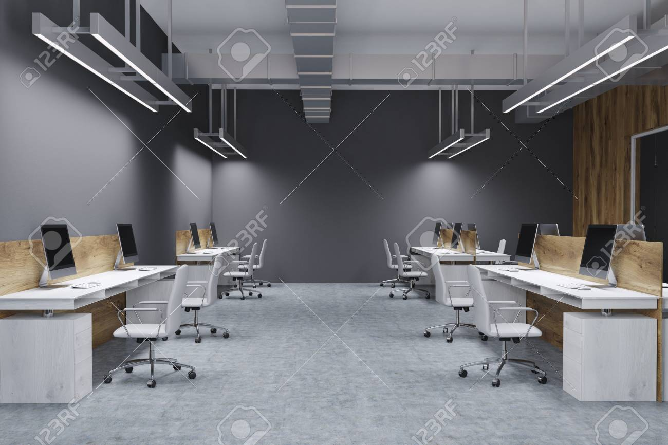 Wooden And Gray Wall Open Space Office Interior With A Concrete