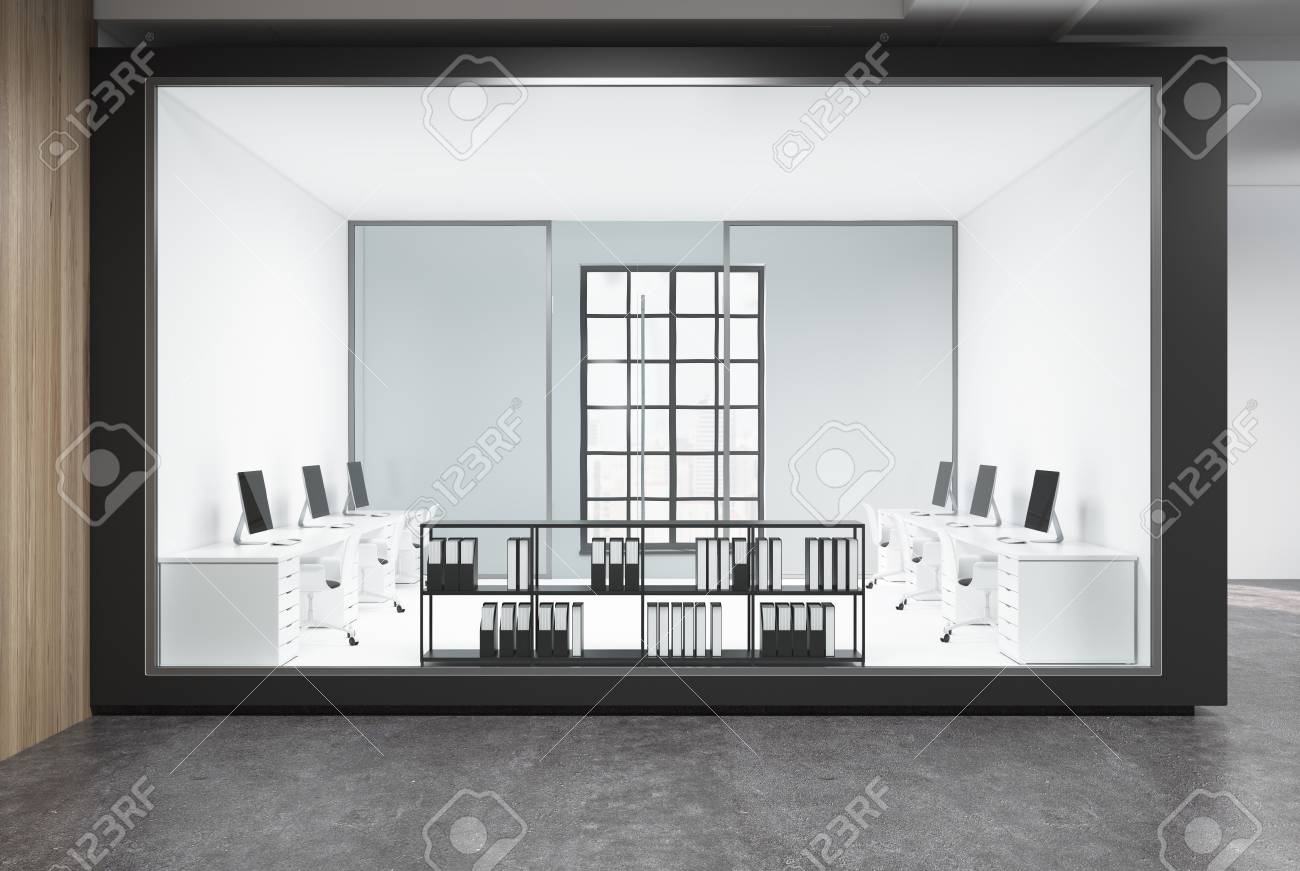 Charming Foto De Archivo   Modern Office Lobby With White, Wood And Glass Walls, A  Concrete Floor And Rows Of White Computer Desks. 3d Rendering Mock Up