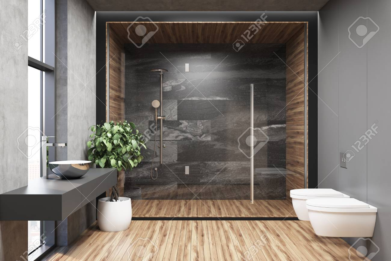 Interior Of A Concrete Bathroom With A Wooden Floor A Shower