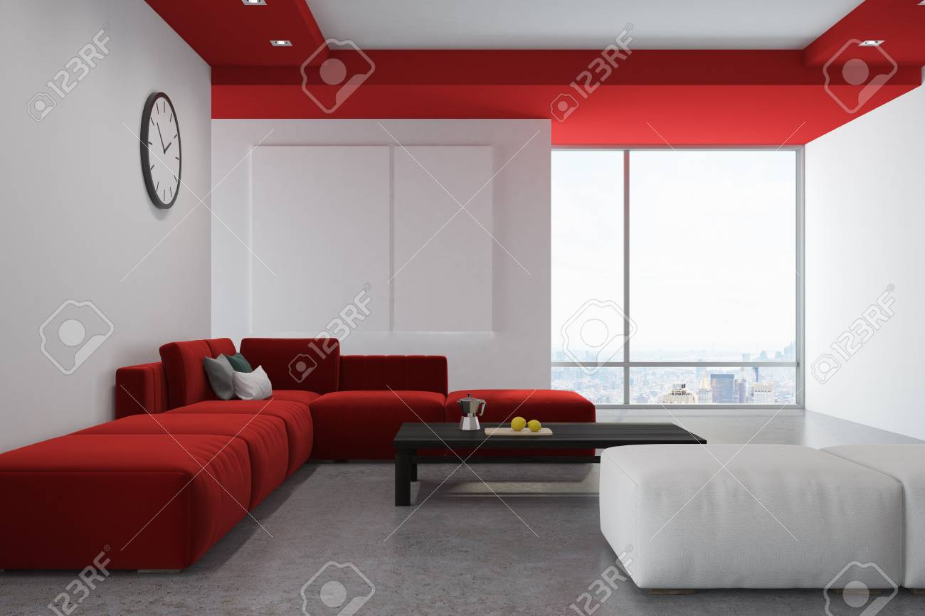 White and red living room interior with a concrete floor, a red..