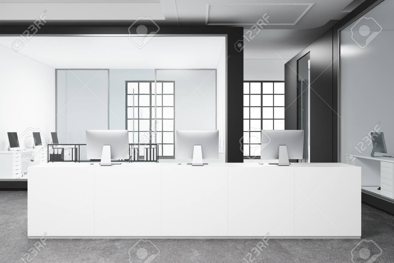 Modern white office interior with a concrete floor, a long white..