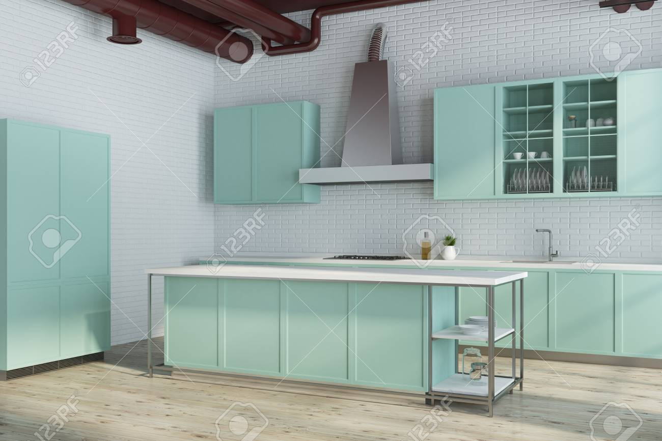 Modern White Kitchen Corner With Green Countertops. A Close Up ...