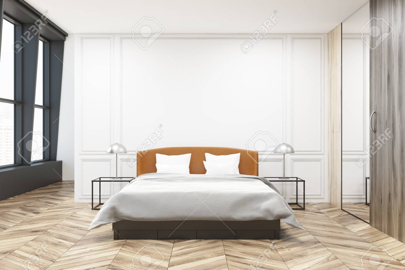 Stylish Master Bedroom Interior With Black And White Walls A Stock Photo Picture And Royalty Free Image Image 95656872