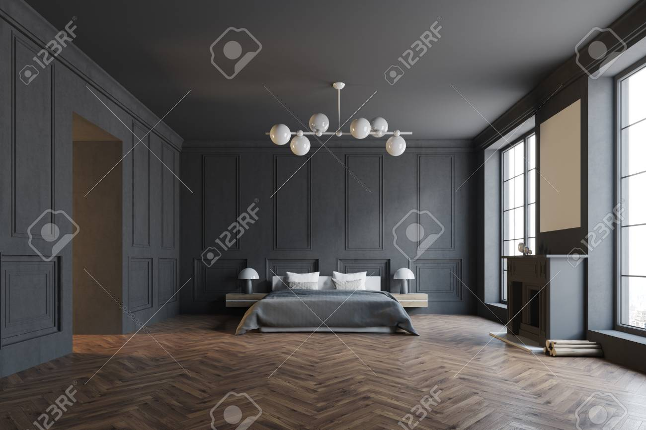 Stylish Master Bedroom Corner With Black Walls A Black Bed And Stock Photo Picture And Royalty Free Image Image 95657042