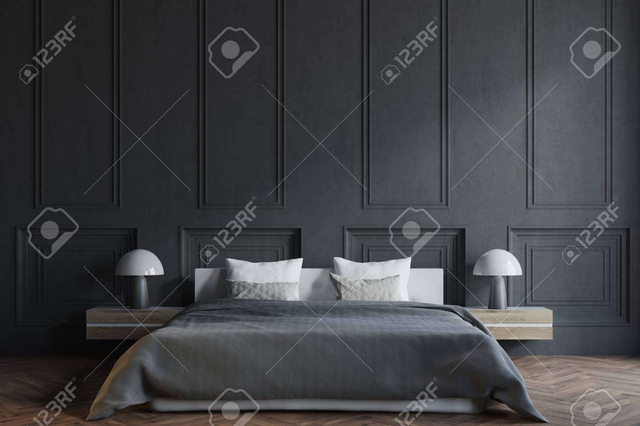 Stylish Master Bedroom Interior With Black Walls A Black Bed Stock Photo Picture And Royalty Free Image Image 95657112