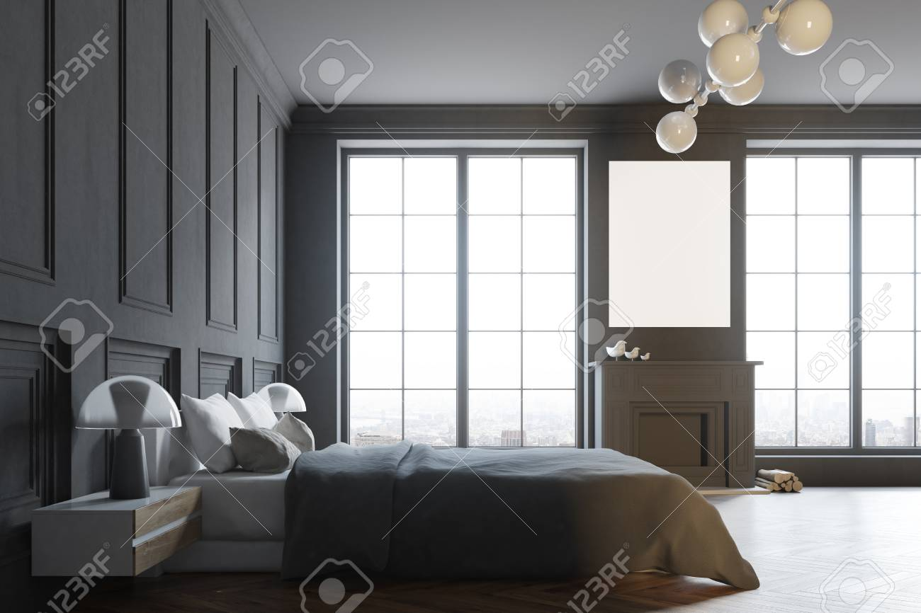 Stylish Master Bedroom Corner With Black Walls A Black Bed And Stock Photo Picture And Royalty Free Image Image 95657315