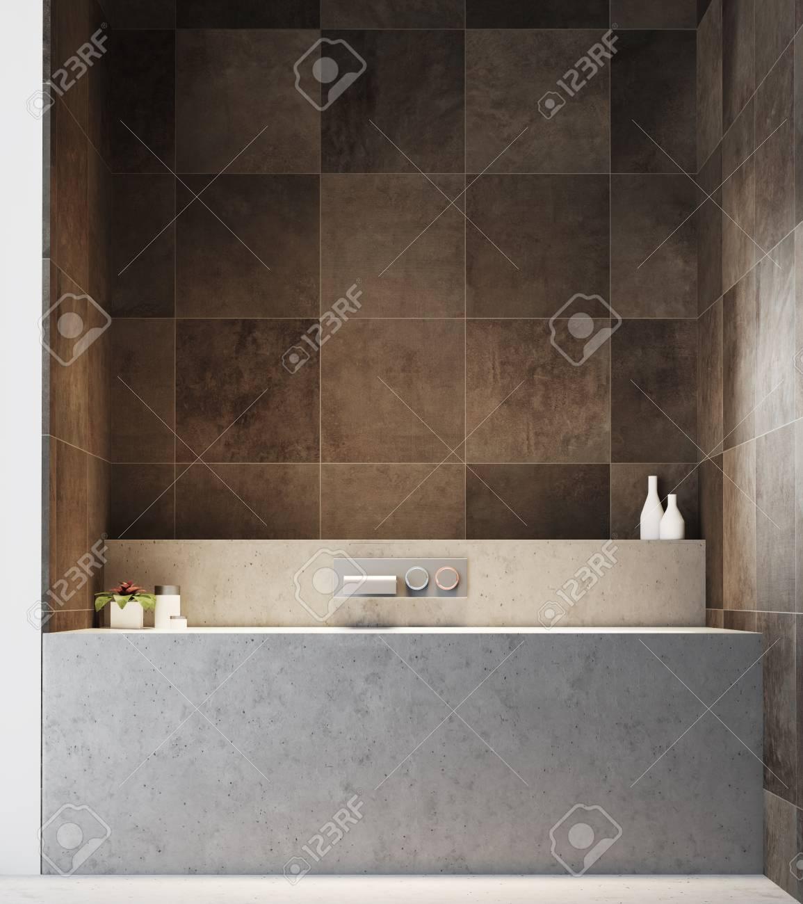 Dark Tiled Bathroom Interior With A Concrete Floor, And A Gray ...