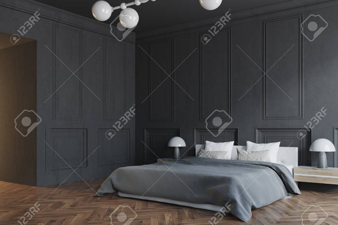 Stylish Master Bedroom Interior With Black Walls A Black Bed Stock Photo Picture And Royalty Free Image Image 96214295