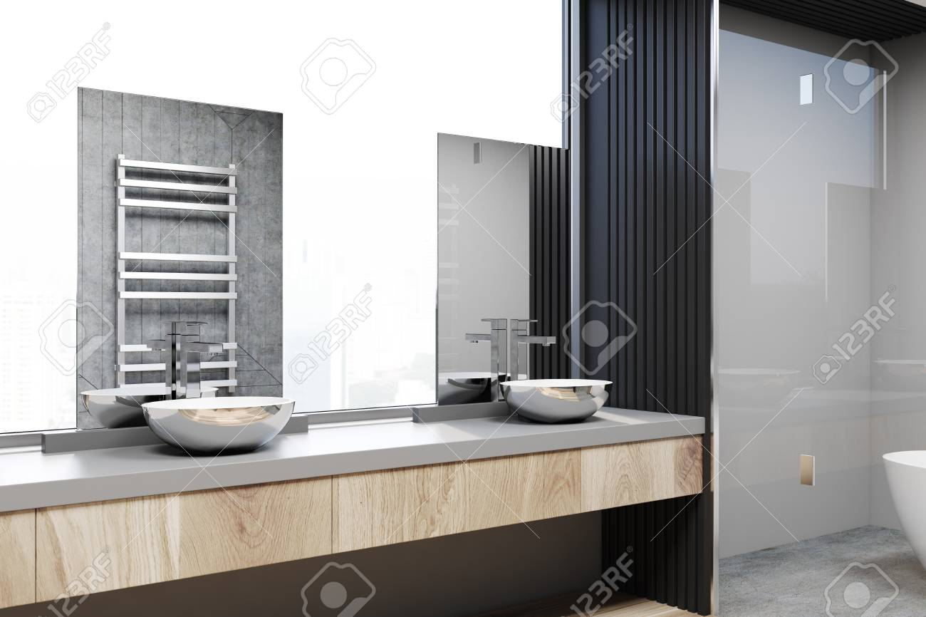 Gray And Concrete Bathroom Corner With A Concrete Floor A Double Stock Photo Picture And Royalty Free Image Image 96214981