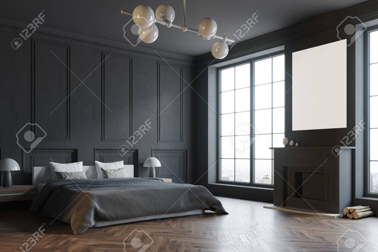 Stylish Master Bedroom Corner With Black Walls A Black Bed And Stock Photo Picture And Royalty Free Image Image 96215496