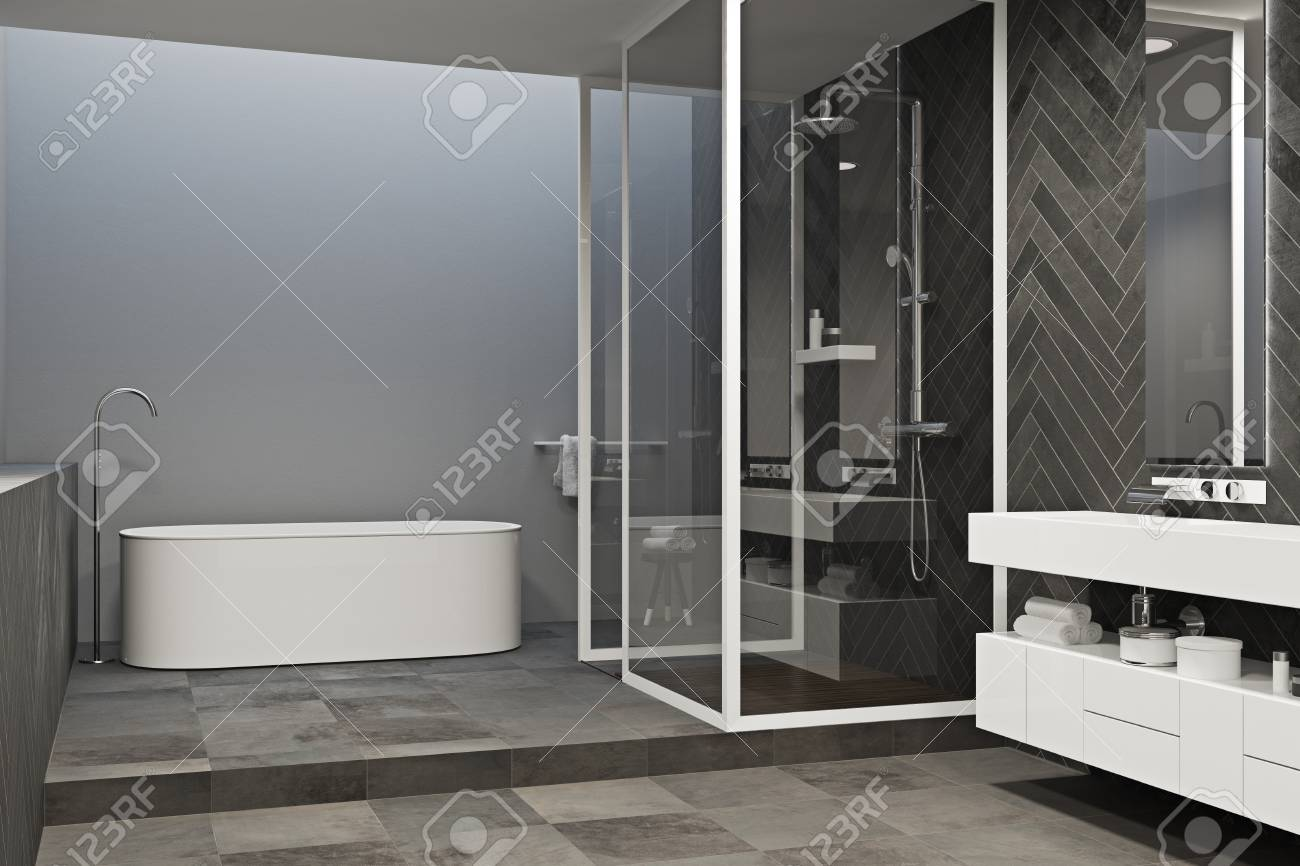 Corner Of A Gray Bathroom With A Tied Floor A White Tub And Stock Photo Picture And Royalty Free Image Image 96117450