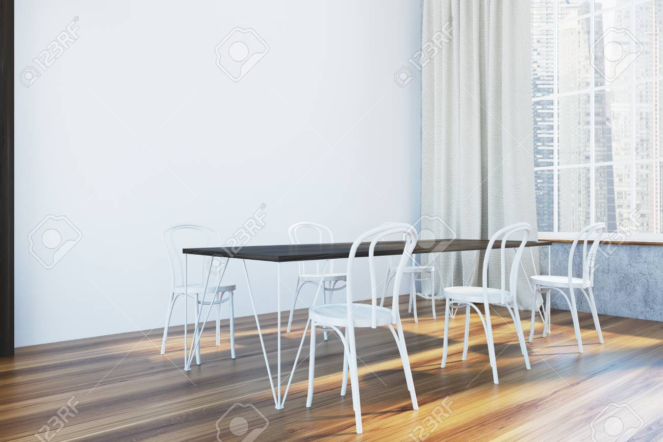 Panoramic White Dining Room Corner With A Long Dark Wooden Table Stock Photo Picture And Royalty Free Image Image 96118454