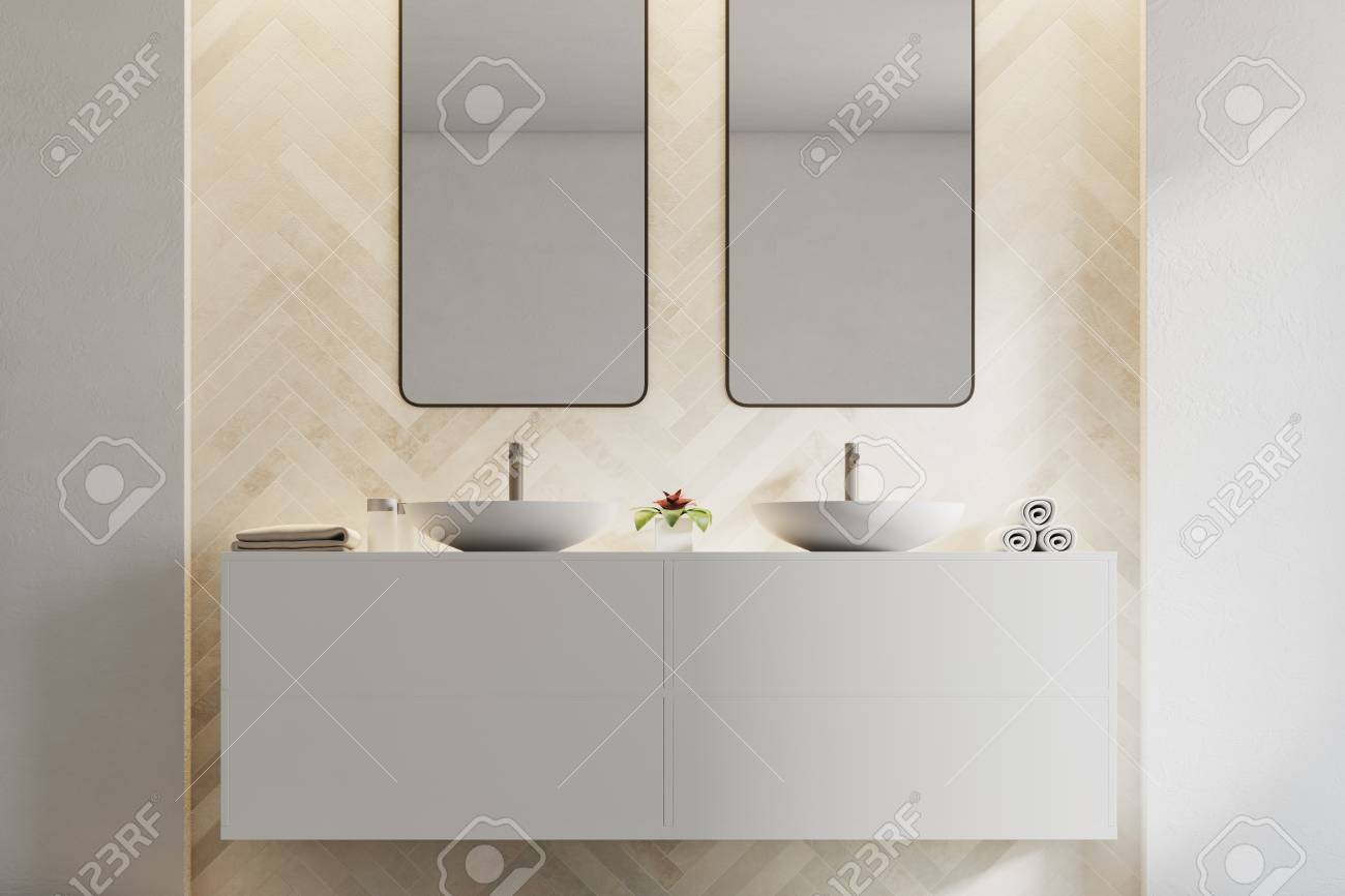 Double Sink Standing On A White Shelf In A Modern Bathroom Corner Stock Photo Picture And Royalty Free Image Image 96664195