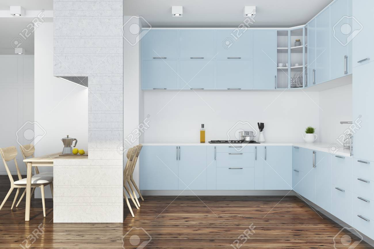 White Kitchen Interior With A Dark Wooden Floor And Blue Countertops ...