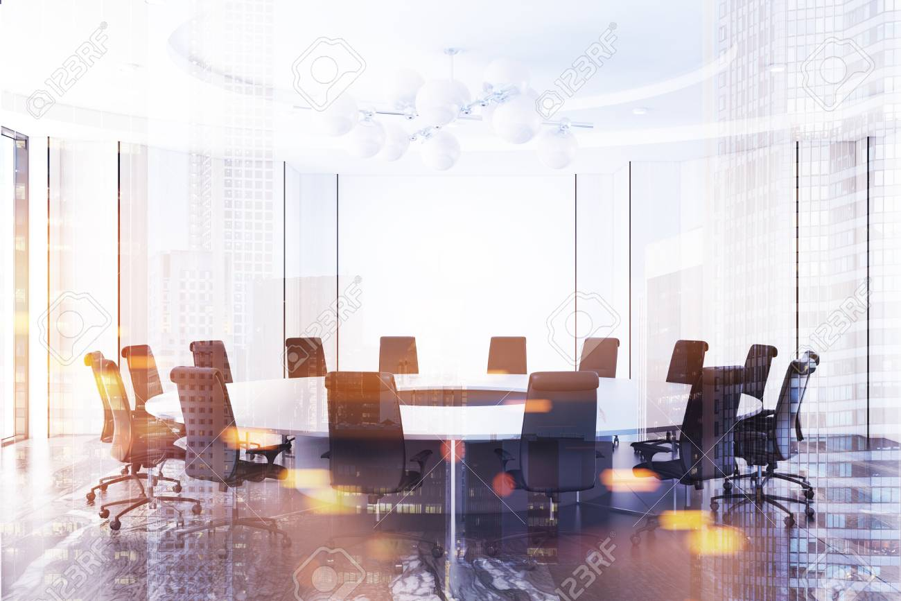 White Meeting Room Interior With A Black Marble Floor And A Round - White marble conference table