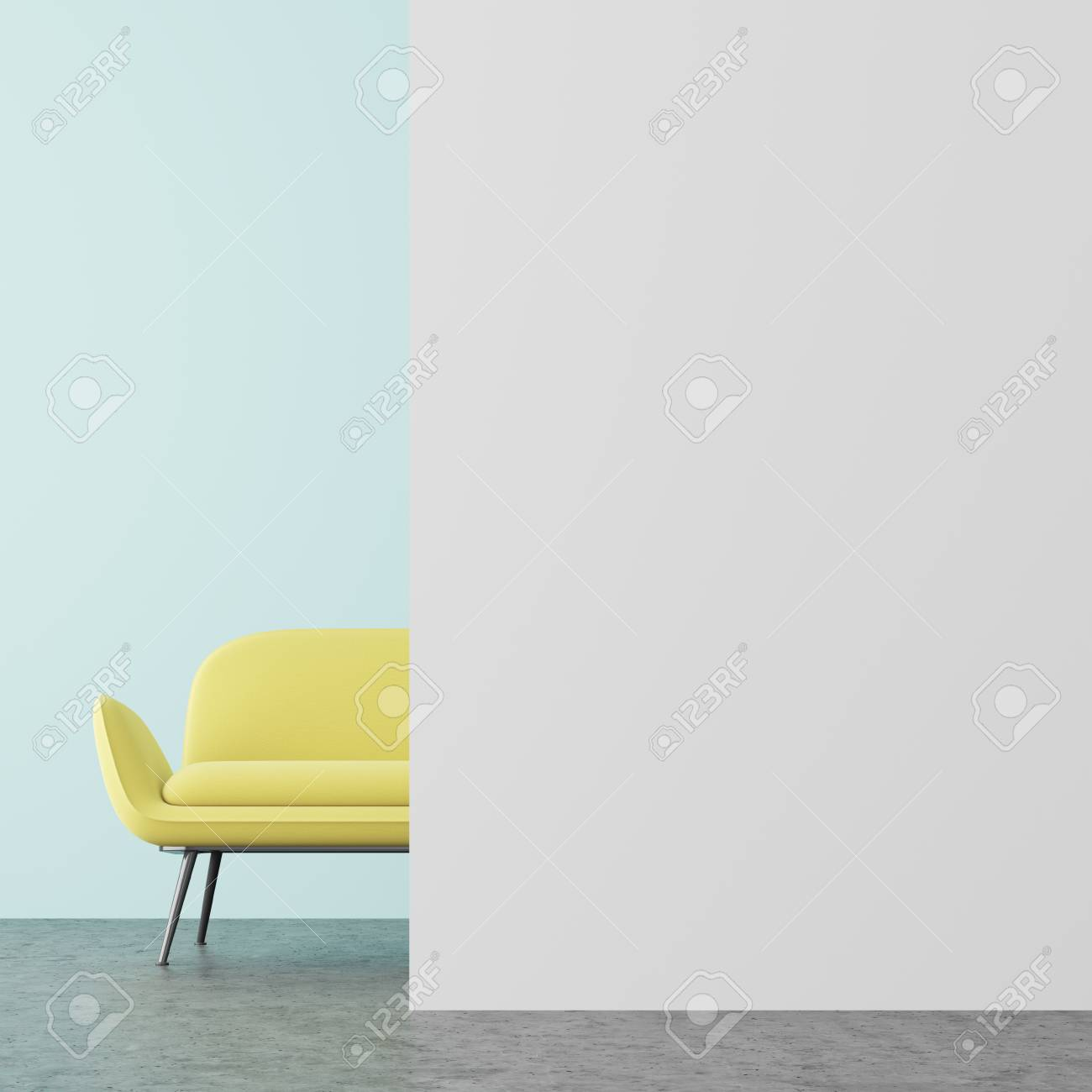 White And Pale Blue Living Room Interior With A Concrete Floor ...