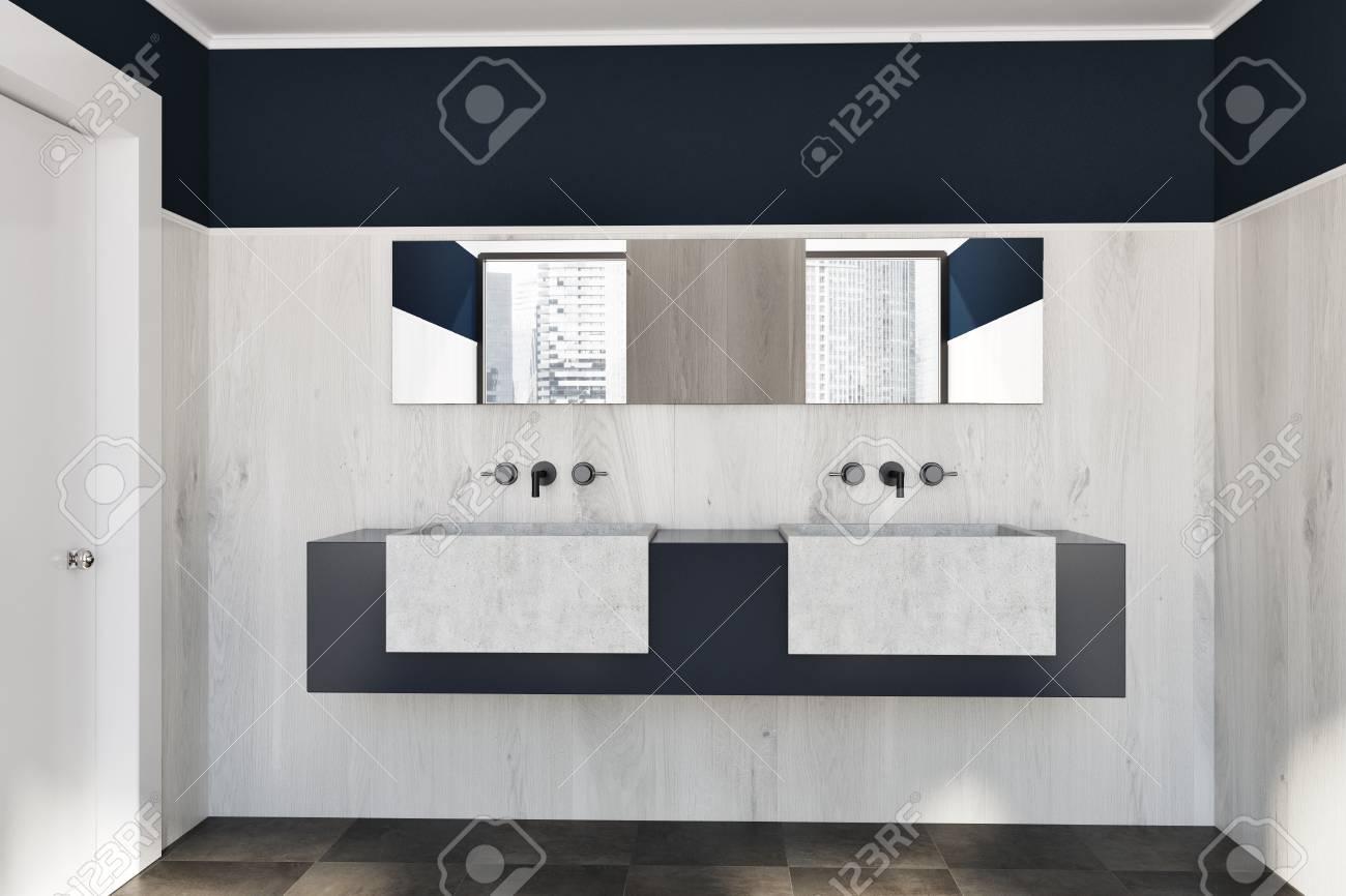 El Bano Azul.Fregadero Doble Que Se Coloca En Un Estante En Blanco Y Gris En Una Mesa De Madera Y El Bano Azul Oscuro Con Un Piso De Azulejos Representacion 3d
