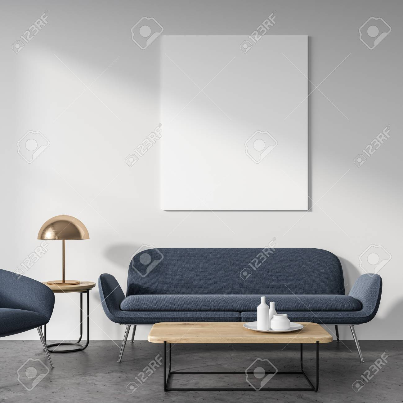 Soggiorno Con Divano Grigio Scuro salotto bianco interno con pavimento in cemento, un morbido divano grigio  scuro e un caffè talbe. un poster. rendering 3d mock up