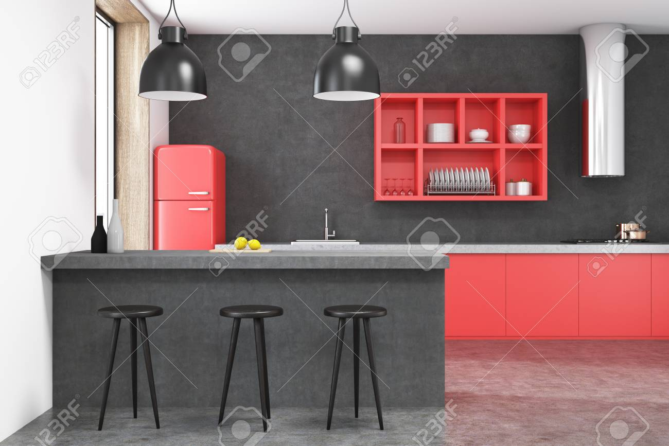 Red fridge kitchen interior with a bar, red shelves, stools and..