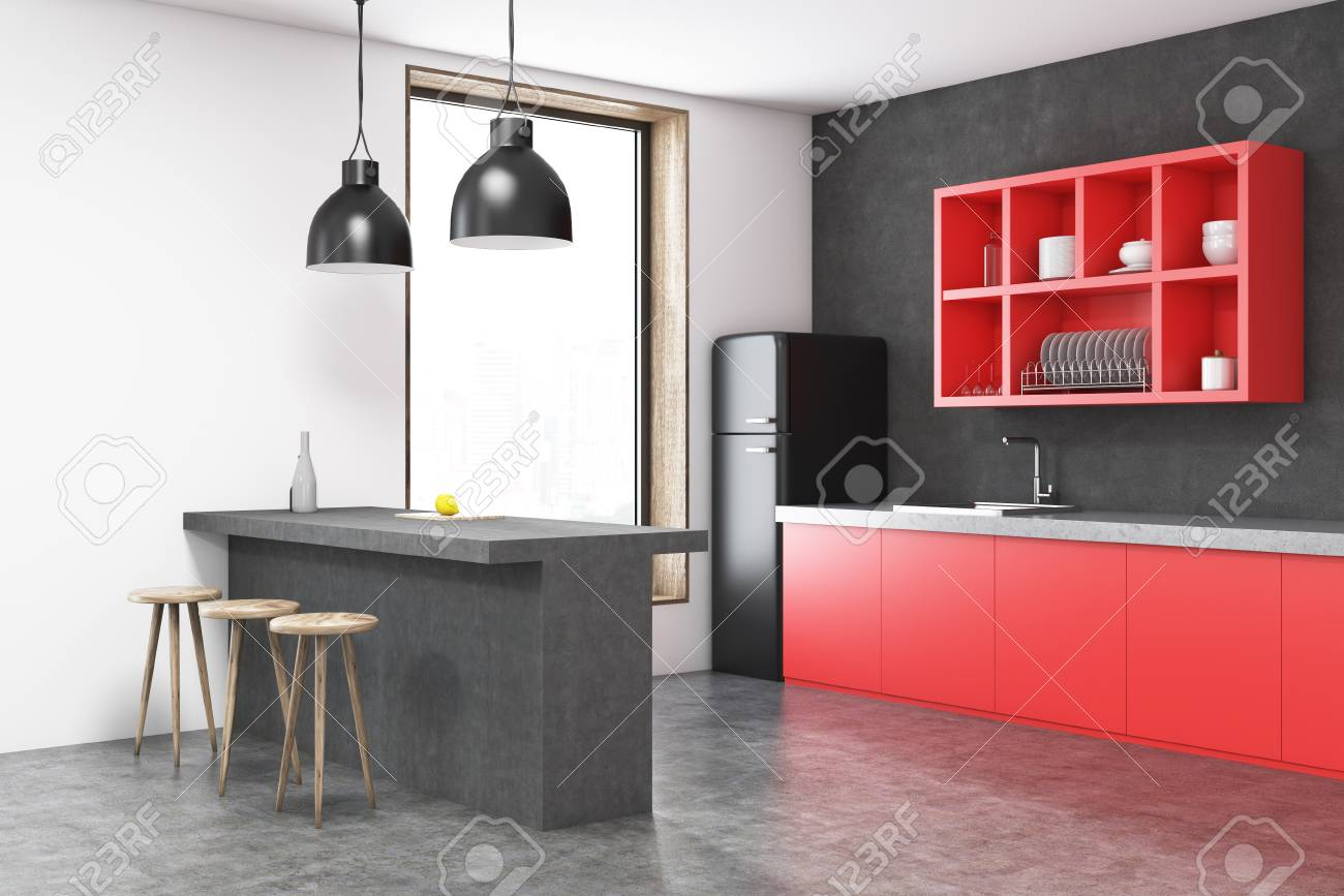 Black fridge kitchen corner with a bar, red shelves, stools and..
