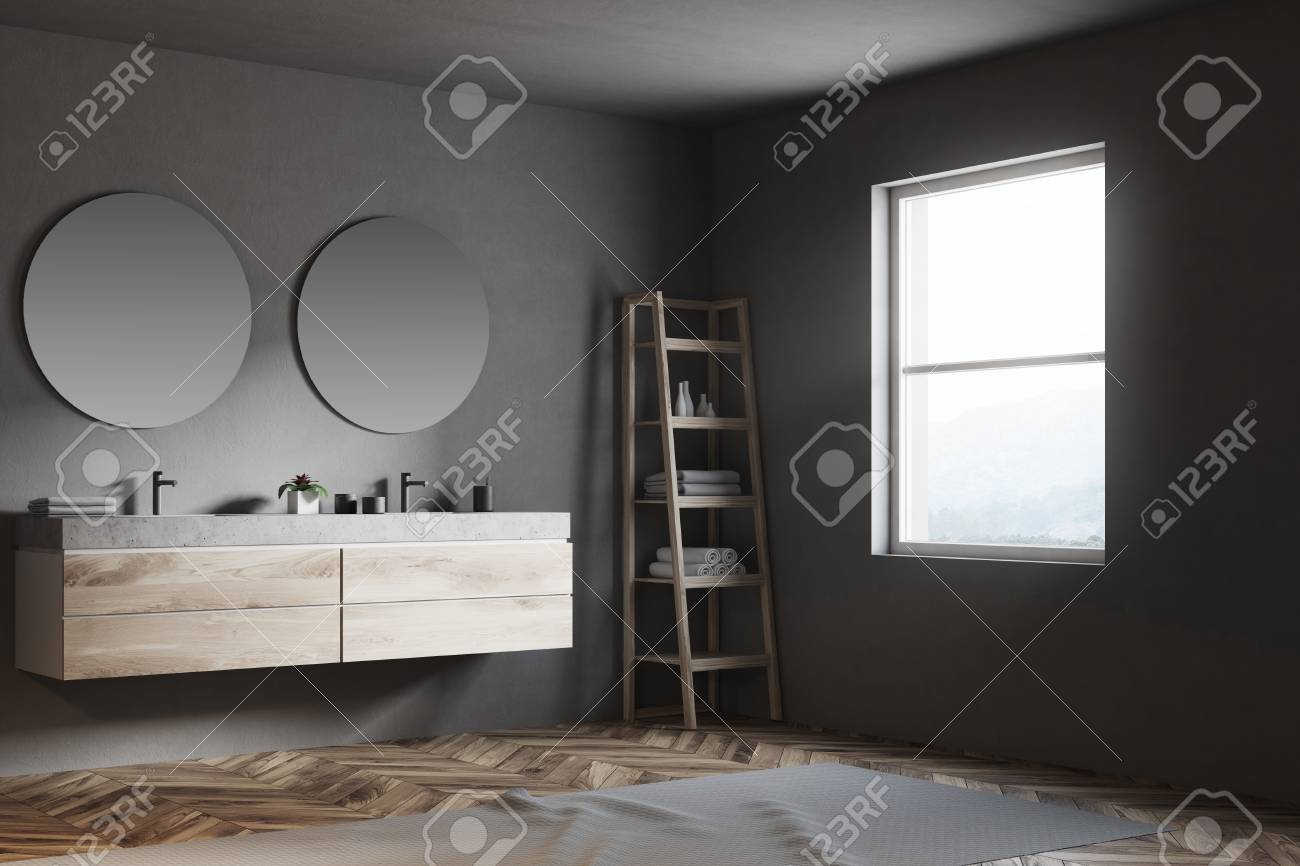 Luxury Bathroom Corner With A Double Sink With Two Round Mirrors Stock Photo Picture And Royalty Free Image Image 97634479
