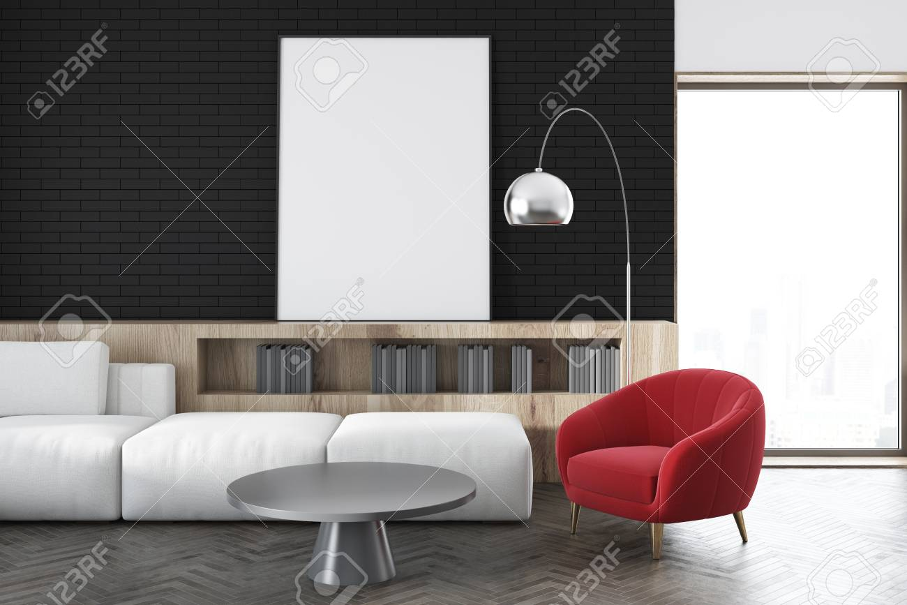 Super Black Wall Living Room Interior With A White Sofa A Red Armchair Evergreenethics Interior Chair Design Evergreenethicsorg
