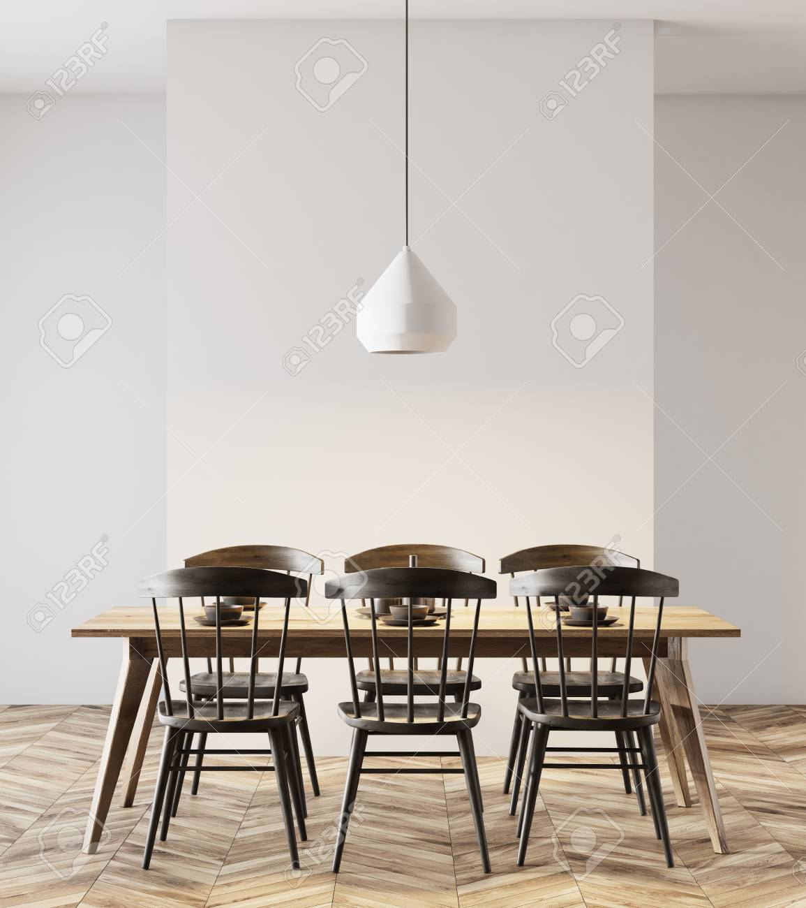 Picture of: White Wall Dining Room Interior With A Wooden Floor A Long Wooden Stock Photo Picture And Royalty Free Image Image 97635299