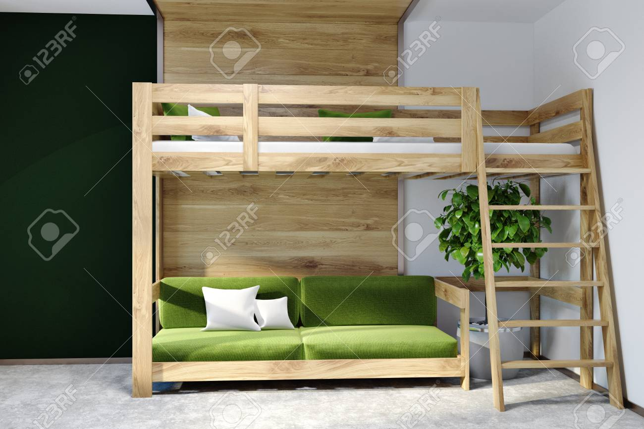 Marvelous Modern Bedroom Interior With Dark Green White And Wooden Walls Creativecarmelina Interior Chair Design Creativecarmelinacom