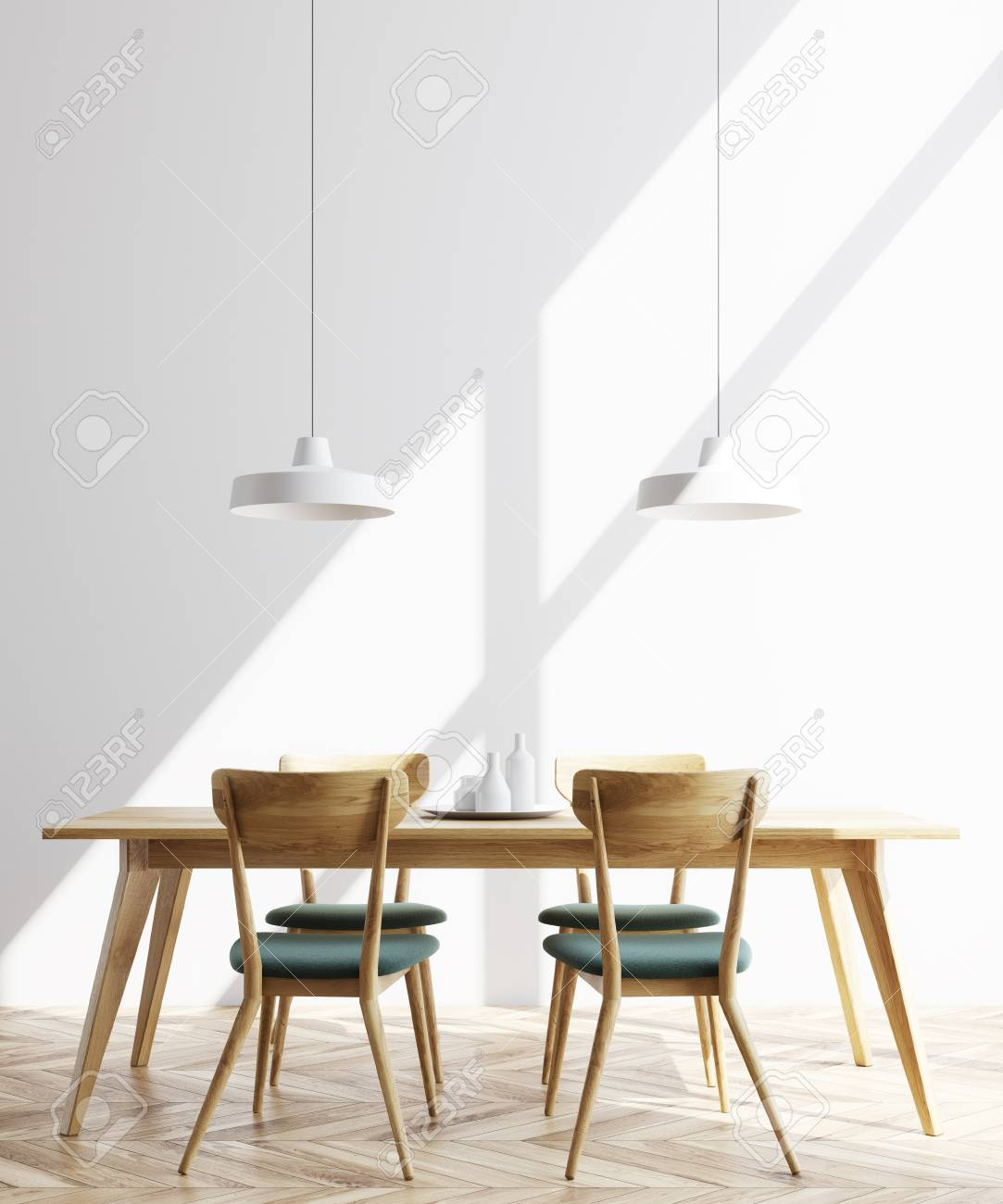 Modern Minimalistic Dining Room Interior With White Walls, A Wooden Floor  And A Long Table