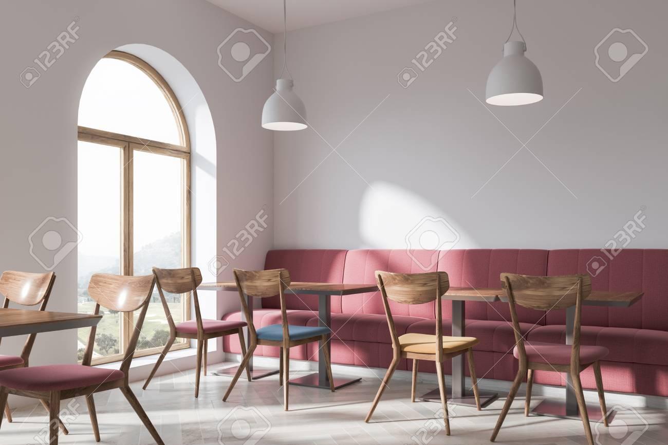 Stylish Bar Interior With White Walls, A Concrete Floor, Original ...