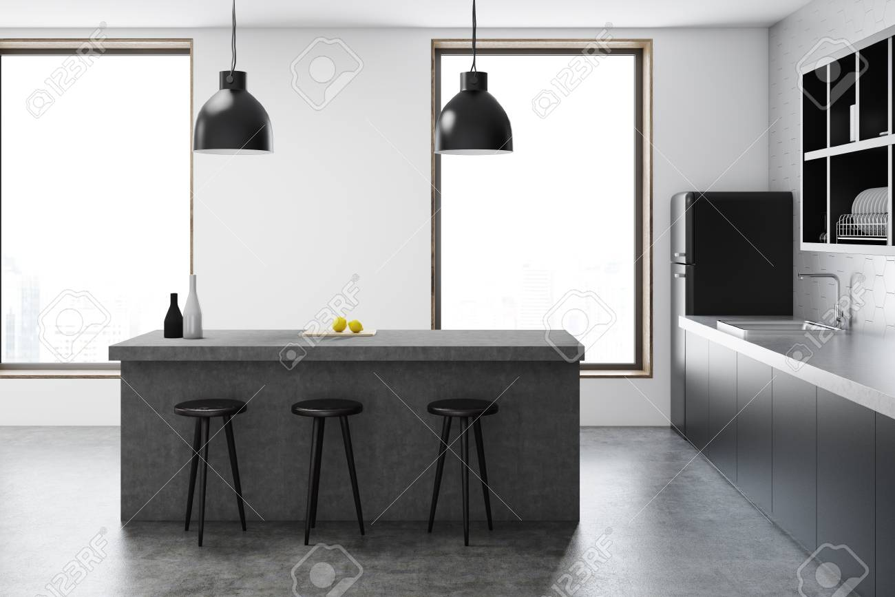 Pleasant Modern Kitchen With A Bar Three Stools And A Black Fridge Near Gmtry Best Dining Table And Chair Ideas Images Gmtryco