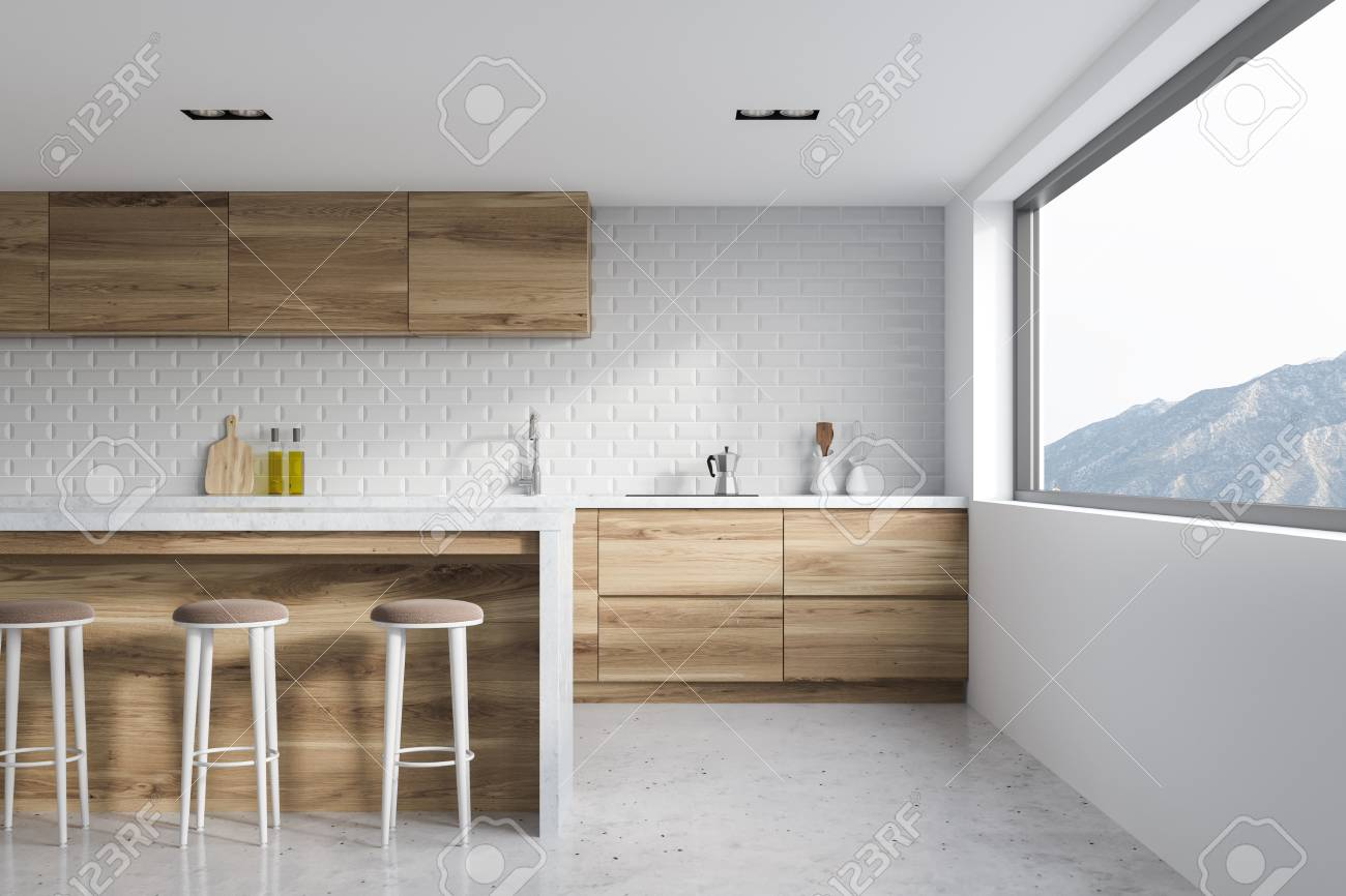 Modern Kitchen Interior With White Brick And White Walls, A Concrete ...