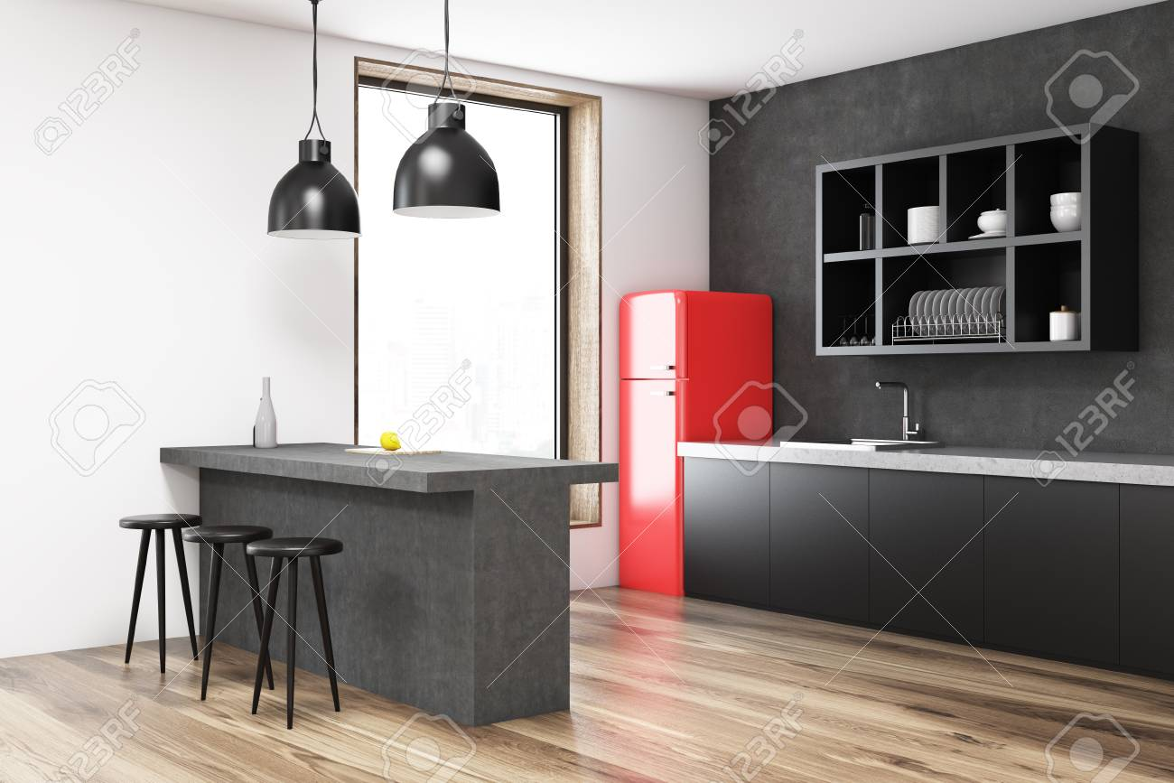 Red Fridge Kitchen Corner With A Bar Black Shelves Stools And