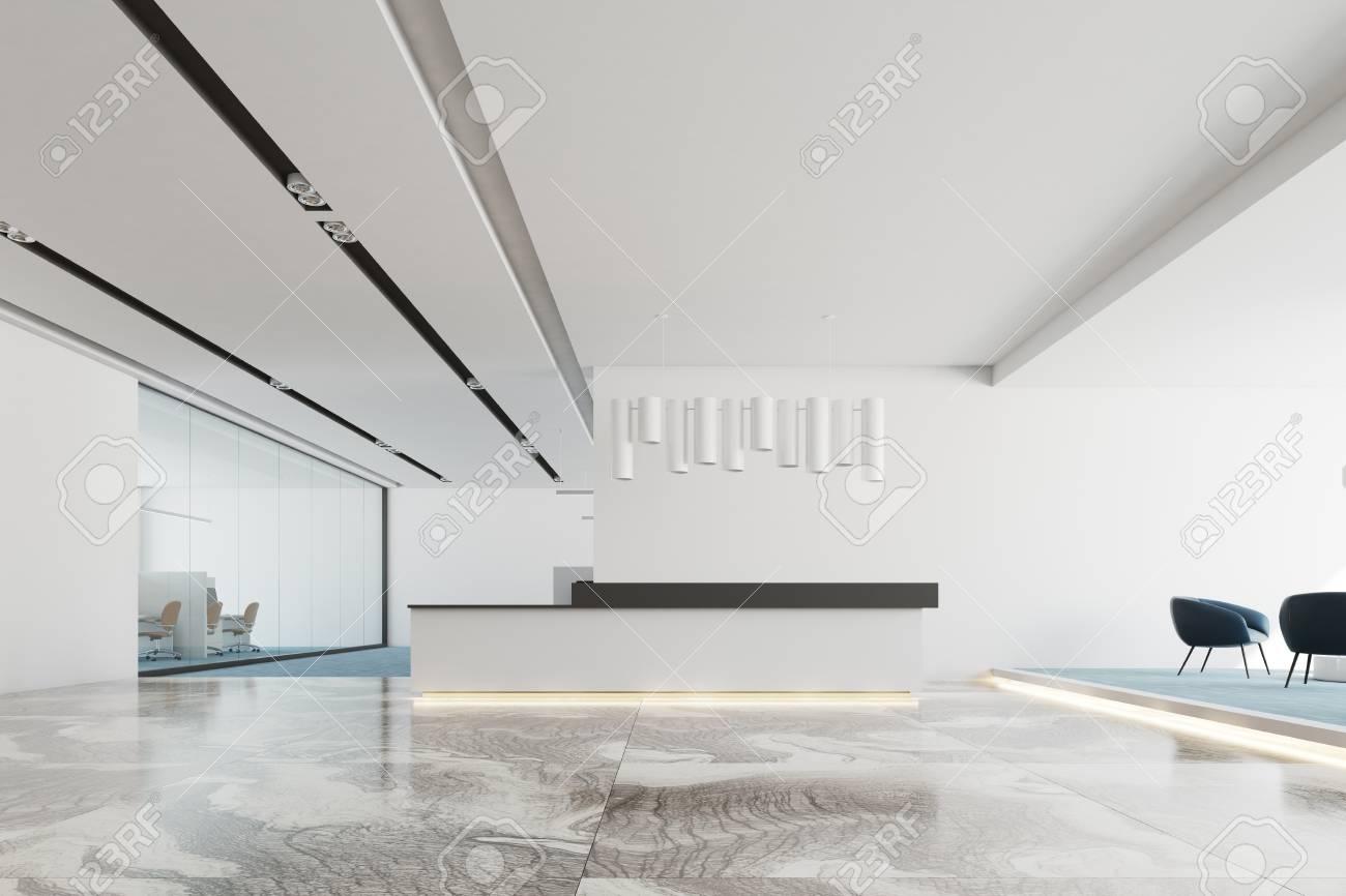 white office interior with a marble and blue carpet floor a stock rh 123rf com