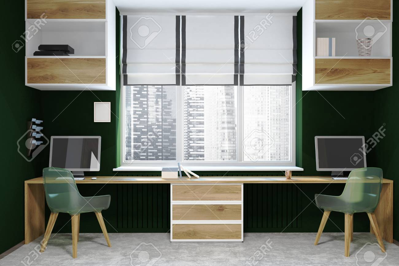 Groovy Modern Home Office Interior With Dark Green Walls A Concrete Download Free Architecture Designs Jebrpmadebymaigaardcom