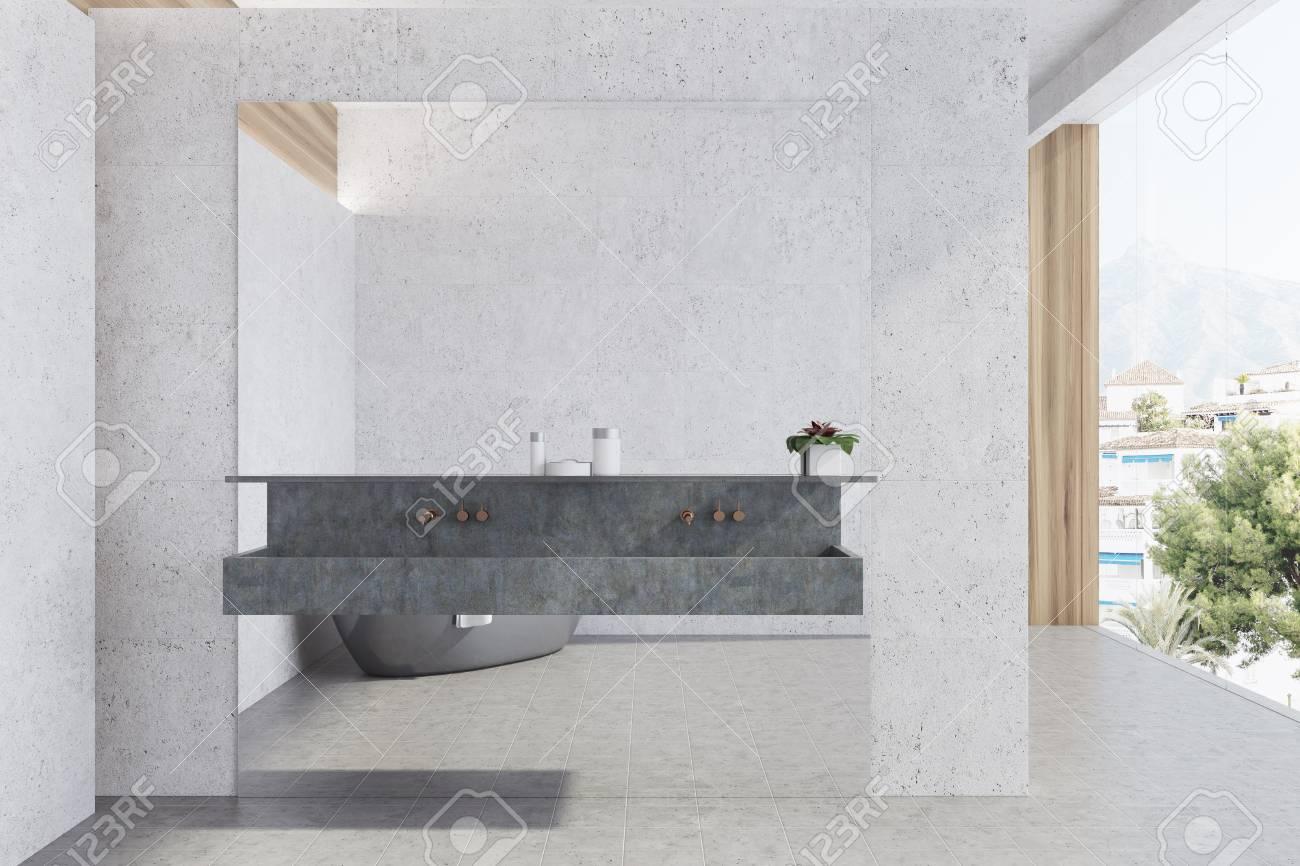 White Panoramic Bathroom Interior Idea. White Concrete Walls.. Stock ...